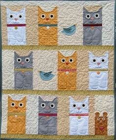 Gallery.ru / Фото #6 - Cats by Maria van Bruggan - Polterguist ... : quilting cats - Adamdwight.com