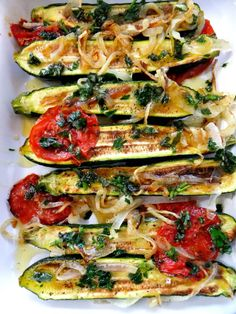 I always like to have some vegetable sides like this pan of zucchini that I roasted with a little bit of olive oil in a 425 degree oven with thin sliced tomatoes and onions.