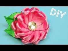 ▶ Брошь-Цветок из лент. Как сделать / Ribbon Flower Brooch. Tutorial / DIY Мастер-класс - YouTube