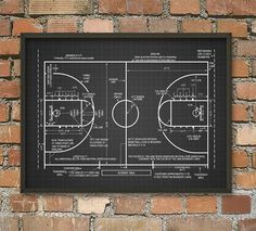 Basketball Court Schematic Diagram Wall Art Poster    This patent poster is printed using high quality archival inks on heavy-weight archival paper