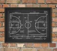 Basketball Court Schematic Diagram Wall Art Poster