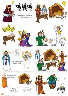 Teacher's Pet - Nativity story sequencing (colour) - FREE Classroom Display Resource - EYFS, (With images) Preschool Christmas, Christmas Nativity, Christmas Activities, A Christmas Story, Christmas Themes, Kids Christmas, Christmas Crafts, Christmas Printables, Christmas Colors