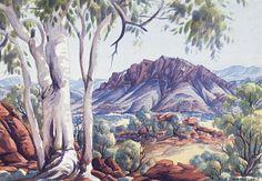 Albert Namatjira, Summer in the Gosse Range, watercolour, 25 x cm… Aboriginal History, Aboriginal Culture, Aboriginal Artists, Australian Painting, Australian Artists, Landscape Art, Landscape Paintings, Landscapes, Australian Aboriginals