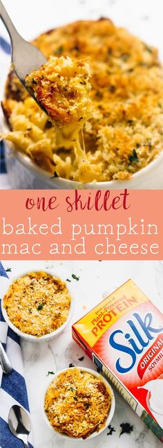 This One Skillet Baked Pumpkin Mac and Cheese is loaded with lots of fall favour, tons of nutrients and tastes so decadent! It's the perfect side dish. via http://jessicainthekitchen.com