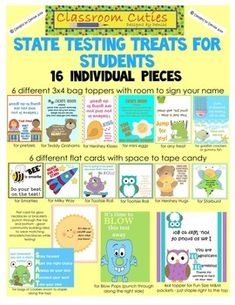 Are you ready to motivate? Do you want your students to know that you believe in them during test time? These cute little treat cards and toppers are perfect for motivating your students during state testing time, or for any tests in the classroom. 16 DIFFERENT PIECES! $