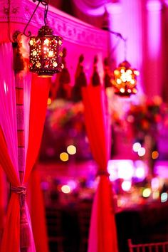 Dim lanterns and bright drapes! -- Indian wedding decor idea ideas party events indian You are in the right place about wedding events schedule Here we offe Indian Wedding Decorations, Wedding Themes, Wedding Locations, Indian Decoration, Indian Weddings, Reception Decorations, Wedding Events, Wedding Dresses, Desi Wedding