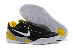 "NBA Lakers Kobe Bryant 9 ""Away"" EM Black Yellow White and Grey Mens Low Sports Sneakers"