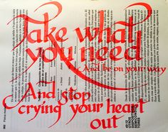 """#musiquitarica #oasis """"take what you need, and be on your way.. and stop crying your heart out"""""""