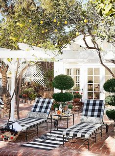 black and white gingham @treasurebite. Outdoor Sheds, Outdoor Rooms, Outdoor Living, Outdoor Decor, Outdoor Patios, Porches, Outdoor Side Table, Shed Plans, Barn Plans