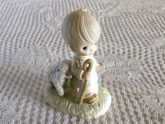 1977 He Leadeth Me Figurine Precious Moments Shepherd Boy and Lamb Table Decor Christmas Decor Novelty Figurine