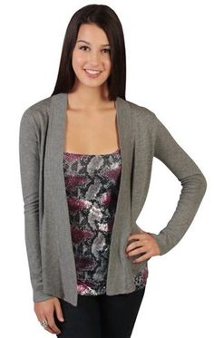 cardigan with long sleeves and open front