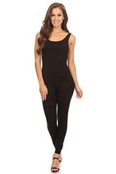 c5587afeb877 Stretch Cotton Bodysuit Women s Scoop Neck Sleeveless Stretch Cotton One  piece Jumpsuits Unitard Bodysuits( amp