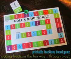Roll and Make Whole (Adding Fractions Board Game)