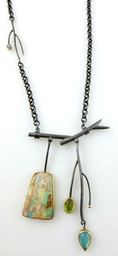 Sydney Lynch. Summer Branch necklace; Boulder opal, peridot, gem chrysocolla, aquamarine, 22k gold, oxidized sterling silver.  Branches are 2 inches long on an 18 inch chain.   $1820.