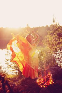 Beauty witch in the woods near the fire. Magic woman celebrating. Beautiful witc , #affiliate, #fire, #Magic, #woods, #Beauty, #witch #ad