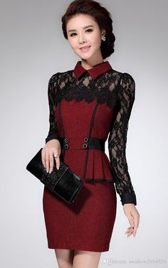 Vestidos Casual Dress 2017 Winter Dress OL Elegant Classical Lace Long Sleeve Package Hip Dress new arrive Vestidos Boutique, Boutique Dresses, Office Dresses For Women, Party Wear Dresses, Lace Dresses, Lace Skirt, Long Sleeve Mini Dress, Winter Dresses, Blouses For Women
