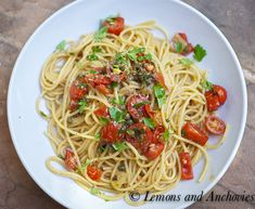Spaghetti with Fresh Tomatoes, Herbs, Olives and Capers
