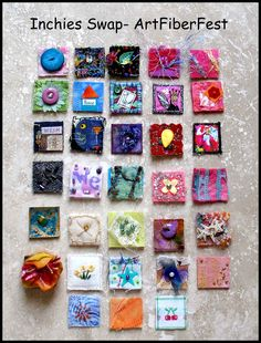 """Tutorials inchies ~ How fun would these be with velcro on back, as """"special"""" day tags on a fabric wall calendar?inchies ~ How fun would these be with velcro on back, as """"special"""" day tags on a fabric wall calendar? Inchies, Sewing Crafts, Sewing Projects, Fabric Postcards, Textiles, Small Art, Artist Trading Cards, Small Quilts, Art Plastique"""