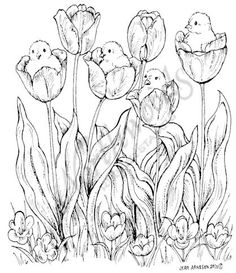 Northwoods Rubber Stamps - Wood Mounted - Chicks in Tulips