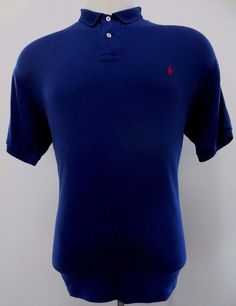 Polo Ralph Lauren Interlock Polo Shirt Blue L Large Mens Cotton Red Pony Logo Sz #PoloRalphLauren #PoloRugby