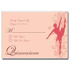 Ballerina Quinceanera Response Card
