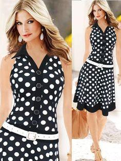 Dot Single Breasted Lapel Dresses Polka Dot Retro Vintage Dress For Women - Banggood Mobile Vintage Dresses Online, Retro Vintage Dresses, Retro Dress, Cute Dresses, Short Dresses, Ladies Dresses, Women's Dresses, Summer Dresses, Mode Outfits