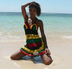 Handmade crochet dress 01 Jamaican. by TIMELESSTRADE on Etsy