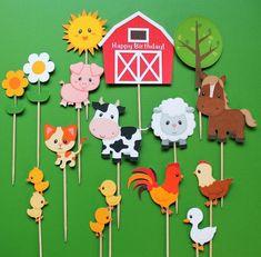 Farm animals cupcake toppers, 15 farm animal cupcake toppers, farm toppers, toppers farm animals, Co Party Animals, Farm Animal Party, Farm Animal Crafts, Farm Animal Birthday, Animal Crafts For Kids, Farm Birthday, Farm Party, Diy For Kids, Birthday Parties