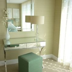 mirrored vanity + orchid + spa green stool