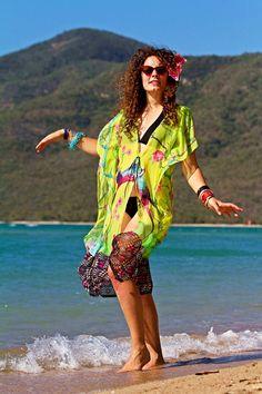 Silk Bird of Paradise  Kimono Jacket by MollyKaftans on Etsy, $149.00