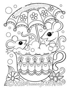 Mice in Teacup Coloring Page.
