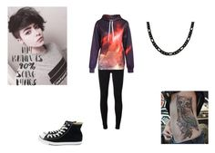 """""""The Owl's Galaxy"""" by topazwarrior ❤ liked on Polyvore featuring 7 For All Mankind, WALL and Converse"""