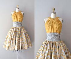 cincuenta vestido / vestido de seda 50s / vestido de Estévez de Grenelle