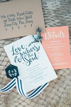 Nautical wedding invitation suite