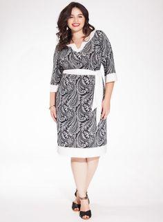 Bermuda Plus Size Dress in Black Cachemire