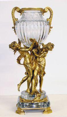 silver gilt vase | french 19th c gilt bronze cut glass vase 29 7 8 h