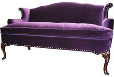 Nola Sofa-in the sexy bedroom of my dreams sits the purple velvet sofa