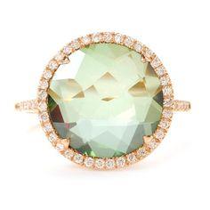SUZANNE KALAN GREEN #TOPAZ RING WITH DIAMONDS