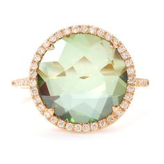 Green Topaz Ring with Diamonds