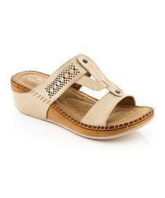 Look what I found on #zulily! Beige T-Strap Sandal by Lady Godiva #zulilyfinds