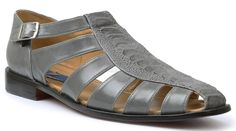 Giorgio Brutini Mens Gray Ostrich Print Closed Toe Sandals 21099