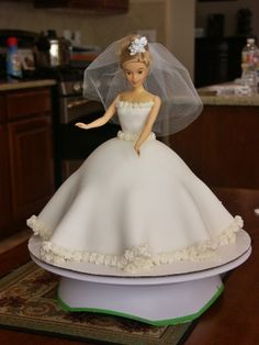 Our bridal shower barbie cake. My mom always used to make me barbie cakes when I was little and it was so fun making a barbie bride cake together for my bridal shower.