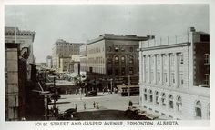 Jasper Avenue in Downtown Edmonton. The Location of Enterprise Square (UAlberta's downtown campus) can be seen in this picture.