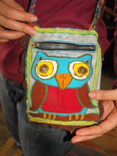 Owl pocket purse. on Etsy, $25.00
