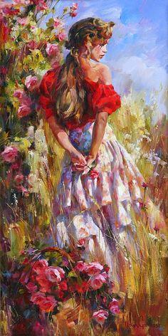 Michael and Inessa Garmash Fine Art Cherished Roses Woman Painting, Painting & Drawing, Images D'art, Fine Art, Beautiful Artwork, Most Beautiful Paintings, Beautiful Pictures, Painting Inspiration, Female Art