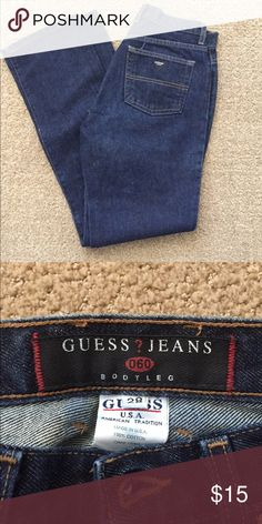 """Vintage Authentic Guess Jeans Classic dark wash denim jean with mid-rise waist. Prefect jean for that mom jean look. (Measurements are as follows: Waist 28"""", Waist to Crotch 13.5"""", Inseam 30"""", Hip at Crotch 38"""", Thigh 22"""") Guess Jeans Boot Cut"""