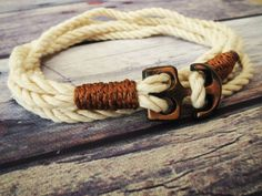 Nautical Bracelet, Natural Cotton Cord Nautical Bracelet, Men's Nautical Wrap Bracelet, Sailor's Copper Tone Anchor Bracelet, Hemp