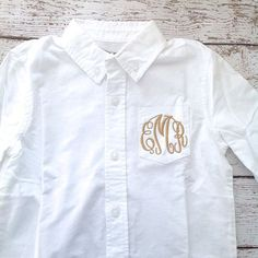 Flower Girl Monogrammed Button Down Oxford Shirt by HeatherStrickland