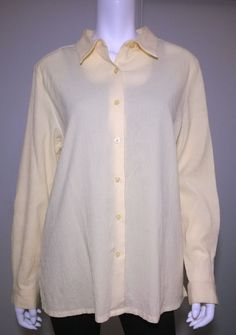 Appleseed's Yellow Tab-Sleeve Crinkle 100% Cotton Shirt Size XL W78 #Appleseeds #ButtonDownShirt #Casual