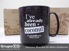 """Hoje começa a Semana Mundial do Meio Ambiente!  Conheça a nossa LINHA GREEN produzida com o reaproveitamento da FIBRA DE COCO MADEIRA DE REFLORESTAMENTO ou EMBALAGEM LONGA VIDA. Acima nossa Caneca da Linha Green Coco com a frase """"Eu já fui um Coco""""!  Saiba mais em: http://ift.tt/20SGG5j  #bbbrindes #grupobb #brindes #brinde #caneca #squeeze #salvador #preserve #semanadomeioambiente #publicidade #marketing #green #coco #sustentabilidade #ecologia #compostagem #reduza #plastico #natureza…"""